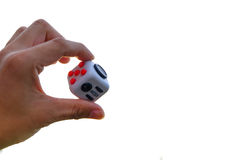 Fidget Cube. Stress reliever, fingers toy on white background. & x28;relax& x29 Royalty Free Stock Photos