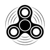 Fidget spinner black and white icon. Hand rotation antistress toy for relax. Twist bauble to making tricks. Royalty Free Stock Images
