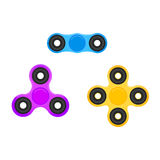Fidget spinner. Hand spinners in trendy flat style. Stress relieving spinner toy. Stock Photo