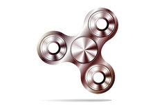 Fidget spinner icon - toy for stress relief and improvement of attention span. Filled  silver metal Royalty Free Stock Photos