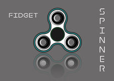 Fidget spinner icon - toy for stress relief and improvement of attention span. Filled  white and  black color. Stock Photography