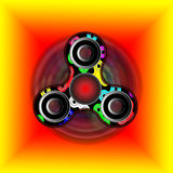 Fidget spinner on the move - toy moving for stress relief and attention enhancement. 3D render illustration.  Royalty Free Stock Images