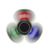 Fidget spinner on the move - toy moving for stress relief and attention enhancement. 3D render illustration.  Royalty Free Stock Photo