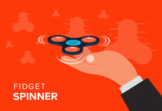 Fidget spinner web banner ad in flat vector design. Trendy hipst Royalty Free Stock Photography