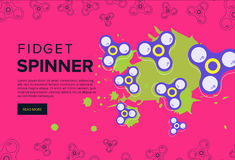 Fidget spinner web banner ad in flat vector design. Trendy hipst Royalty Free Stock Images