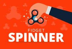 Fidget spinner web banner ad in flat vector design. Trendy hipst Stock Photos