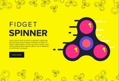Fidget spinner web banner ad in flat vector design. Trendy hipst Stock Photography