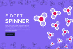 Fidget spinner web banner ad in flat vector design. Trendy hipst Royalty Free Stock Photos