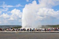 Fiel velho entra em erupção em um dia de verão bonito na frente de uma multidão de espectador foto de stock royalty free