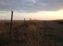 Field загородка против моря с солнцем вечера в backgrond стоковые фотографии rf