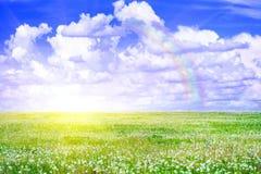 field солнце радуги Стоковая Фотография
