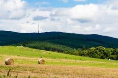 Field с связками сена на день лета солнечный Стоковые Фотографии RF