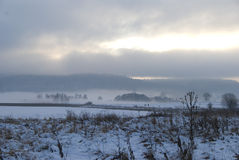 Field. In winter with forest in fog and clouds stock images