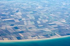 Field. View from the plane to the European part of the continent and the Mediterranean Sea Royalty Free Stock Photos