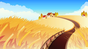 Field. Vector illustrations - Landscape with wheat Stock Photography