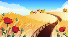 Field. Vector illustrations - Landscape with wheat and poppy Stock Images