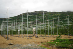 Field of antennas in Norwegian mountains. royalty free stock images