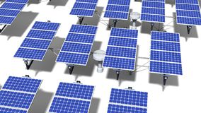 Field of articulated solar panels at midday. Field of articulated solar panels with midday light on a white background Stock Photos
