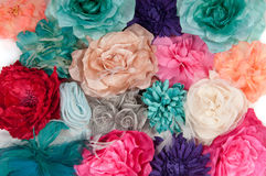 A field of artificial flowers (ladies barrettes) Royalty Free Stock Photography
