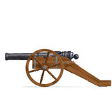 Field artillery cannon. 3D rendering with clipping path and shadow over white Royalty Free Stock Photos