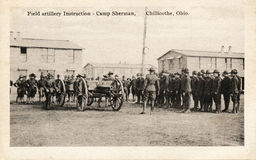 Field Artillery Instructions. CHILLICOTHE, OHIO, USA – CIRCA 1914-1918: Field artillery instructions - Vintage WWI postcard depicting soldiers receiving Stock Photos