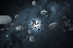 Field of asteroids in deep space. Group of asteroids scattered in the outer space stock illustration