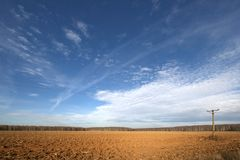 A field in autumn. And the sky. November 2008 Royalty Free Stock Photography