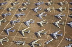 A Field of B-52 Aircraft, Davis Montham Air Force Base, Tucson, Arizona Stock Image