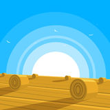 Field with bales of hay. Cartoon illustration of the field with bales of hay Stock Image