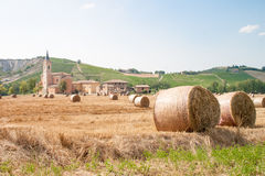 field with bales of hay in Italy Royalty Free Stock Photography
