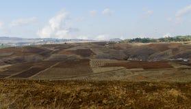 Field barren. Barren field for sowing seeds Stock Photo