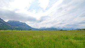 Field in Bavaria with famous Neuschwanstein Castle and alps Stock Images