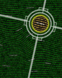 A field of binary ones and zeros. A ball of digital data being searched or targeted. Could be a visual metaphor for cryptography Stock Photos