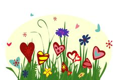 Field of blooming hearts on yellow background. Illustration symbolizing joy, love and happiness. Perfect for greeting card, greeting with Valentine`s day Royalty Free Stock Images