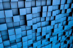 Field of blue 3d cubes. 3d render image. Field of blue 3d cubes. 3d render background image Royalty Free Stock Images