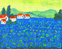 Field with blue flowers. Hand painted picture, acrylic, summer landscape field with blue flowers Royalty Free Stock Image