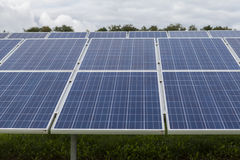 Field with blue siliciom solar cells alternative energy. To collect sun energy stock image