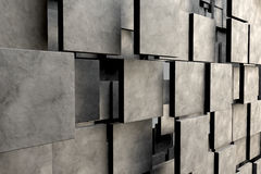 Field of brown square plates with stone texture. 3d render image Stock Photography