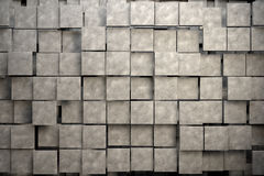 Field of brown square plates with stone texture. 3d render image Stock Image
