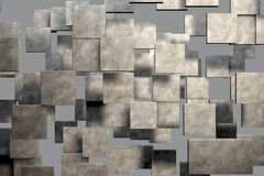 Field of brown square plates with stone texture. 3d render image Stock Photo