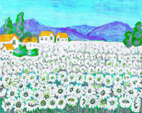 Field with camomiles, painting Royalty Free Stock Images