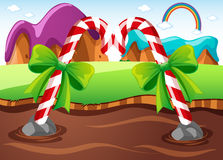 Field with candycanes in river. Illustration Royalty Free Stock Image