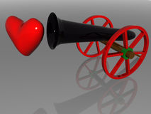 Field Cannon. Glass field Cannon with heart. 3d render Royalty Free Stock Image