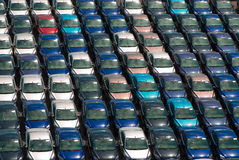 Field of cars. Lots of cars parking. Nice repetition and colors Royalty Free Stock Photo