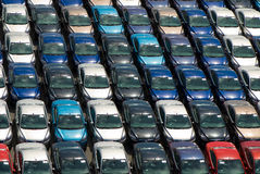 Field of cars. Lots of cars parking. Nice repetition and colors Royalty Free Stock Photos