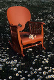 Field Chair. Flowers adorn this rocking chair in a field royalty free stock images