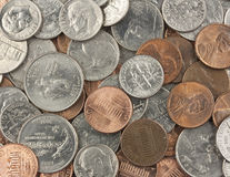 Field of Coins. A lot of various coins Stock Photos