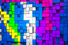 Field of colorful 3d cubes. 3d render image. Royalty Free Stock Image