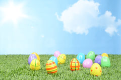 Field of colorful easter eggs Royalty Free Stock Images