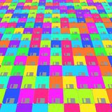 Field of Colorful Floppy Disks. Field of tightly packed, vibrantly colored floppy disks. This image is a 3d rendering Stock Photo